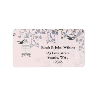 gaiola de pássaro cor-de-rosa, etiquetas de