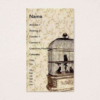 Gaiola de pássaro do vintage cartão de visitas