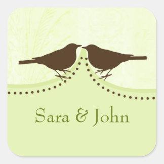Gaiola de pássaro verde chique, selo do envelope adesivo em forma quadrada