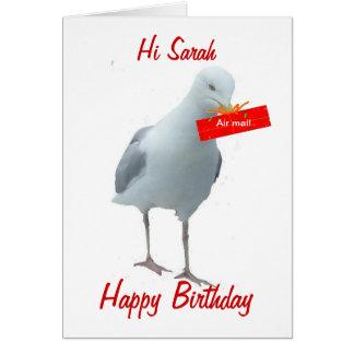 Gaivota do cartão do dia do aniversário