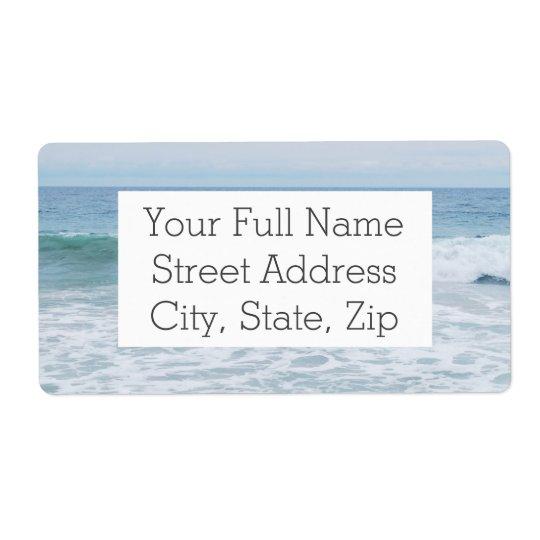 Gaivota na praia em Califórnia Etiqueta De Frete
