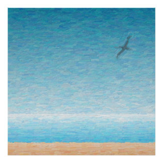 Gaivota voando sobre a praia pôster