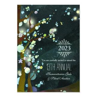 Gala e leilão Glittery da caridade da noite Convite 12.7 X 17.78cm