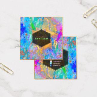 Galáxia abstrata de PixDezines/cores de néon Cartão De Visitas Quadrado