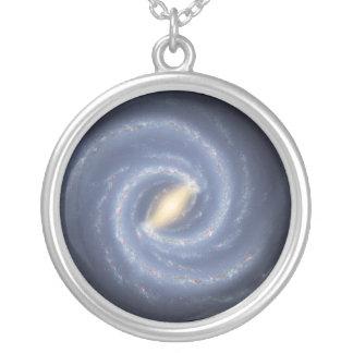 Galáxia da Via Láctea Colar Banhado A Prata