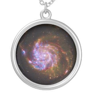 Galáxia espiral 101 mais messier colar com pendente redondo