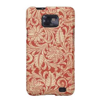 Galáxia vermelha floral S2 de Samsung do damasco Capinhas Personalizadas Samsung Galaxy S2