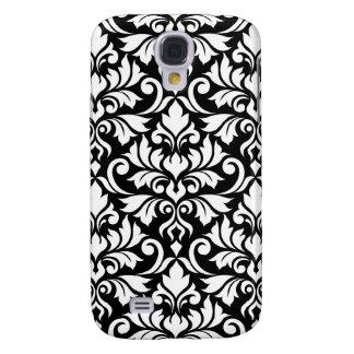 Galaxy S4 Case Branco grande do teste padrão do damasco do