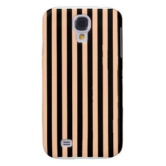 Galaxy S4 Case Listras finas - pretas e pêssego profundo