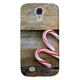 Galaxy S4 Case Madeira rústica com os bastões de doces do Natal
