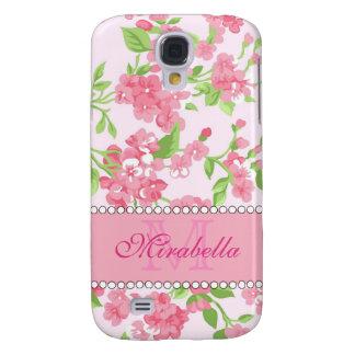 Galaxy S4 Case Nome de ramos cor-de-rosa da flor da aguarela do