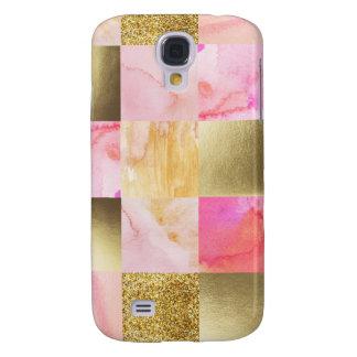 Galaxy S4 Case ouro, pastels, cores de água, quadrados, colagem,