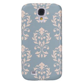 Galaxy S4 Case Rosa do Lg Ptn II do damasco do coração no azul