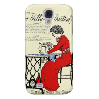 Galaxy S4 Case Senhora no vestido vermelho na máquina de costura