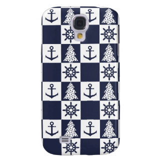Galaxy S4 Cases Checkered branco azul náutico