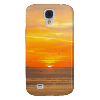 Galaxy S4 Cases Costa do por do sol com Sun alaranjado e pássaros