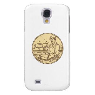 Galaxy S4 Cases Desenho do círculo do queijo cheddar do fazer do