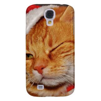 Galaxy S4 Cases Gato alaranjado - gato de Papai Noel - Feliz Natal