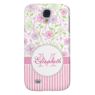 Galaxy S4 Cases Listras do rosa Pastel, do roxo, das flores, as