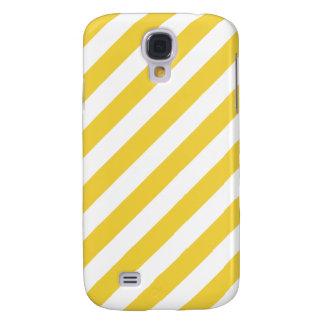 Galaxy S4 Cases Teste padrão diagonal amarelo e branco das listras