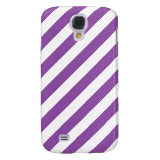 Galaxy S4 Cases Teste padrão diagonal roxo e branco das listras