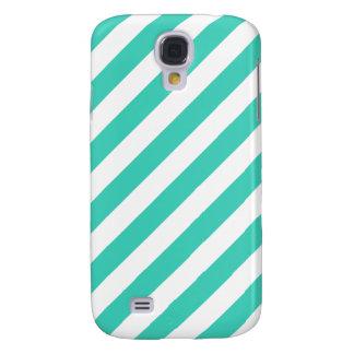 Galaxy S4 Cover Cerceta e teste padrão diagonal branco das listras