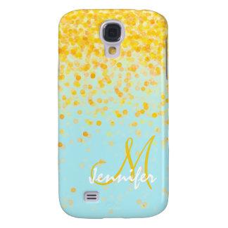 Galaxy S4 Cover Nome amarelo dourado feminino do ombre de turquesa