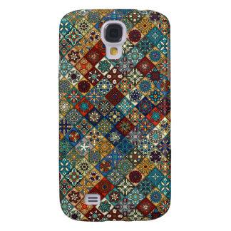 Galaxy S4 Cover Retalhos do vintage com elementos florais da