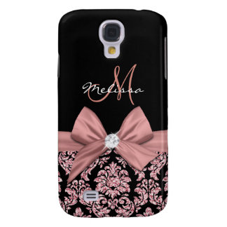 Galaxy S4 Covers Damasco cor-de-rosa do preto do brilho do ouro,