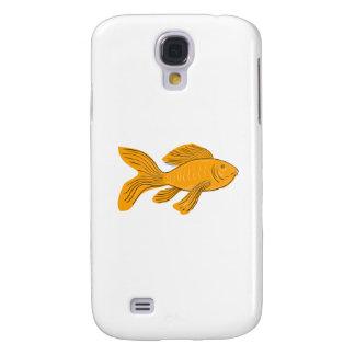 Galaxy S4 Covers Desenho da natação de Koi da borboleta do ouro