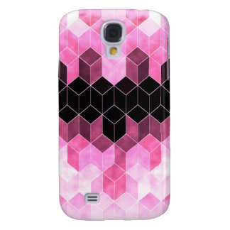 Galaxy S4 Covers Design geométrico cor-de-rosa & preto intenso