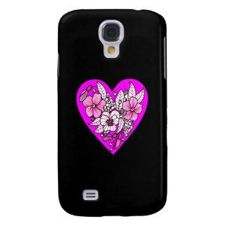 Galaxy S4 Covers Flores em um coração