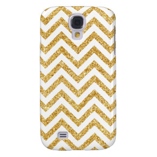 Galaxy S4 Covers O ziguezague do brilho do ouro branco listra o