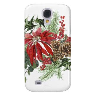 Galaxy S4 Covers poinsétia moderna do feriado do vintage floral