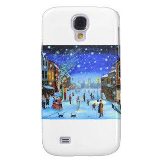 Galaxy S4 Covers Uma cena da rua do inverno de Scrooge da canção de