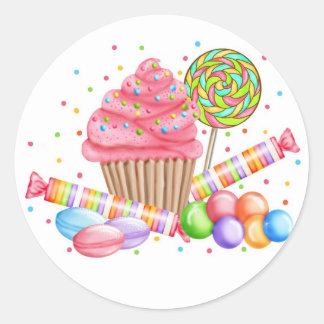 Galdérias do doce do pirulito dos doces do cupcake adesivos redondos