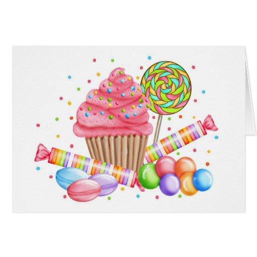 Galdérias do doce do pirulito dos doces do cupcake cartoes
