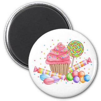 Galdérias do doce do pirulito dos doces do cupcake ímã redondo 5.08cm
