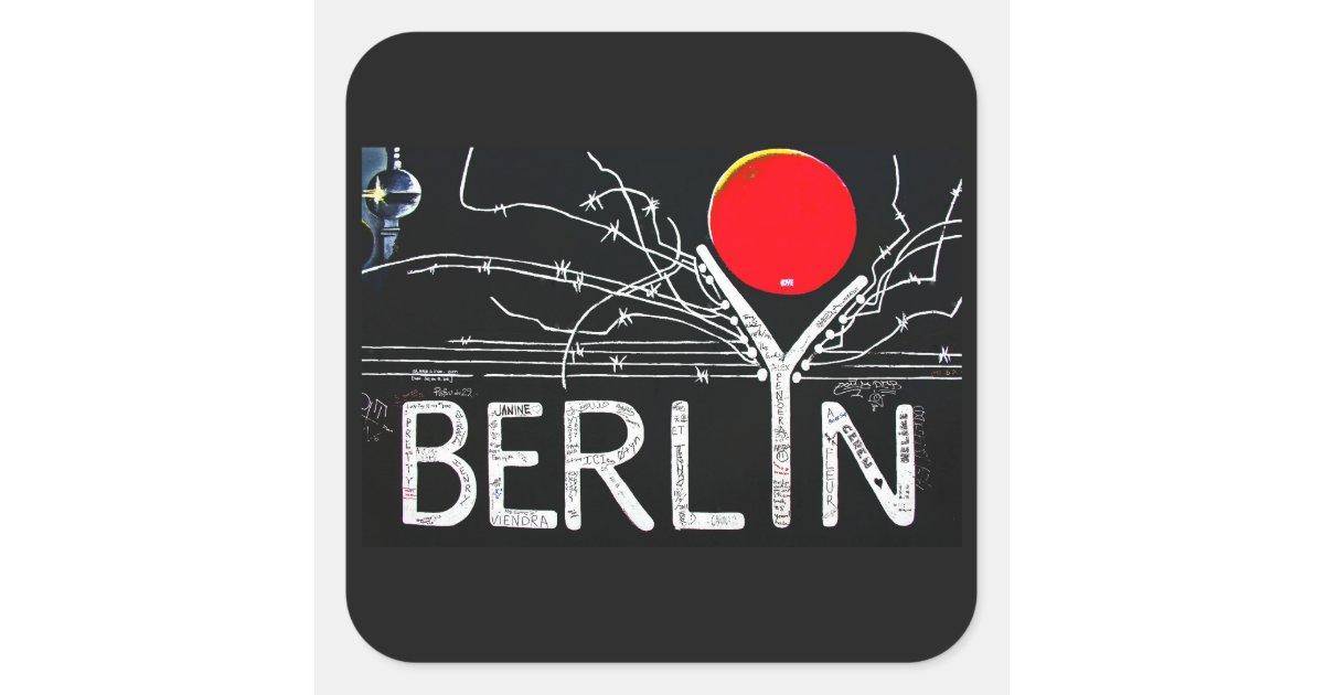 Adesivo Para Azulejo De Cozinha Pastilha ~ Galeria da zona leste, muro de Berlim, arame Adesivo Quadrado Zazzle