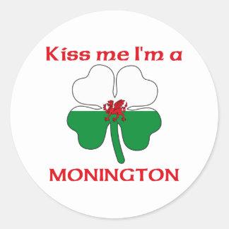Galês personalizado beija-me que eu sou Monington Adesivo Redondo