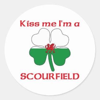 Galês personalizado beija-me que eu sou Scourfield Adesivo Em Formato Redondo