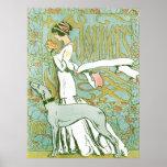 Galgo e senhora de Nouveau da arte com flor Posters