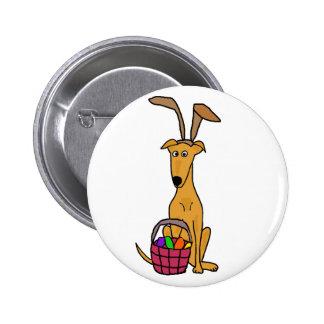 Galgo engraçado bonito que veste as orelhas de bóton redondo 5.08cm