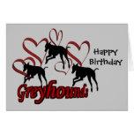 Galgos e cartão de aniversário vermelho do cão dos