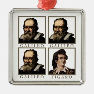 Galileo Figaro Ornamento Quadrado Cor Prata