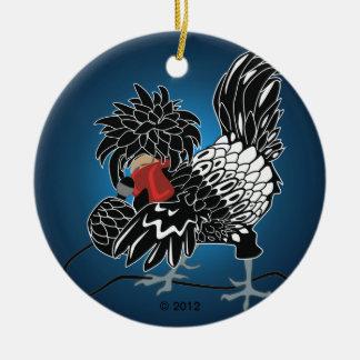 Galinha com crista polonesa de balanço ornamento de cerâmica redondo