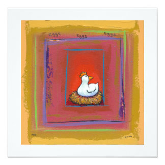 Galinha da arte da galinha que coloca a pintura convite quadrado 13.35 x 13.35cm