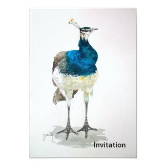 Galinha da ervilha no convite do Watercolour