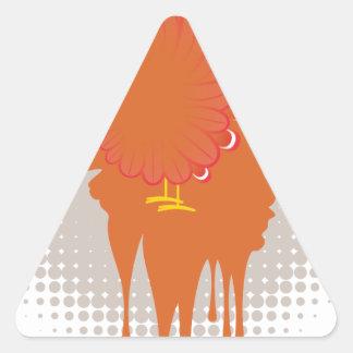 Galinha da mão do Grunge Adesivo Triangular