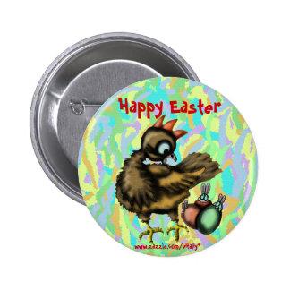 Galinha da páscoa e botão engraçados dos coelhos bóton redondo 5.08cm